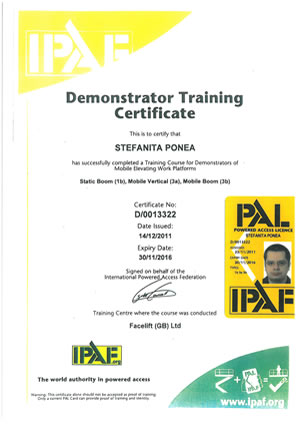 Dl.Ponea Stefan - Demonstrator Training Certificate